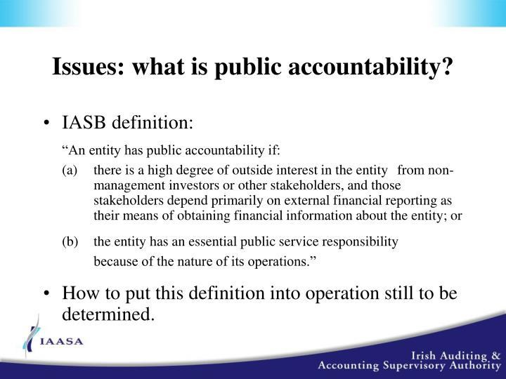 Issues: what is public accountability?