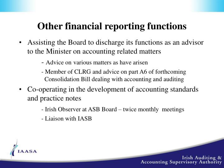 Other financial reporting functions