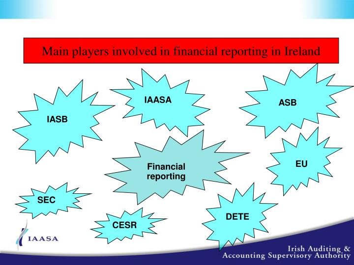 Main players involved in financial reporting in Ireland