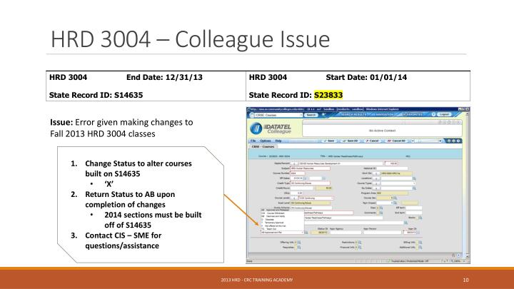 HRD 3004 – Colleague Issue