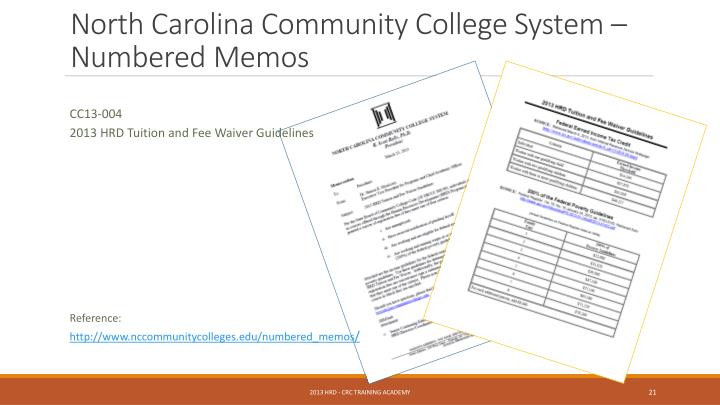 North Carolina Community College System – Numbered Memos