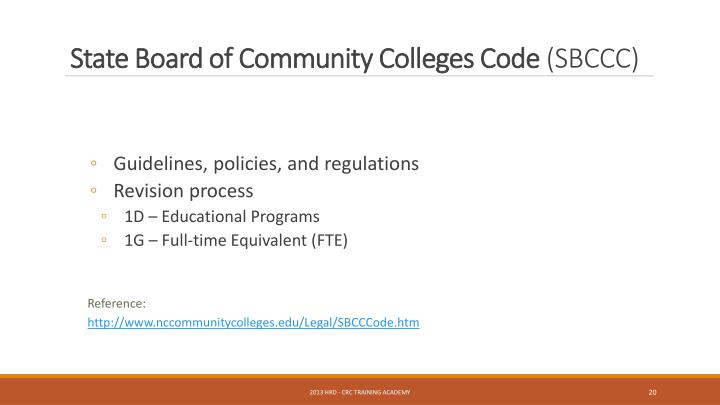 State Board of Community Colleges Code