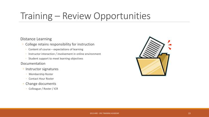 Training – Review Opportunities