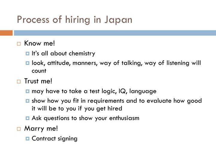 Process of hiring in Japan