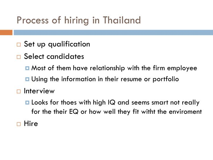 Process of hiring in Thailand