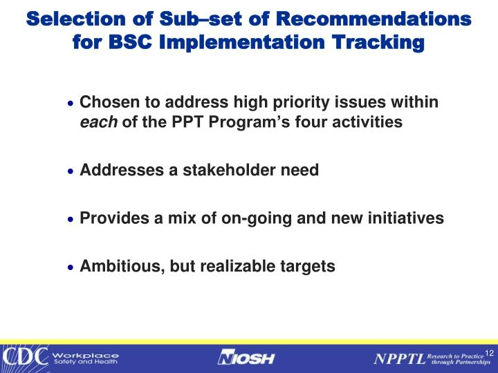 Selection of Sub–set of Recommendations