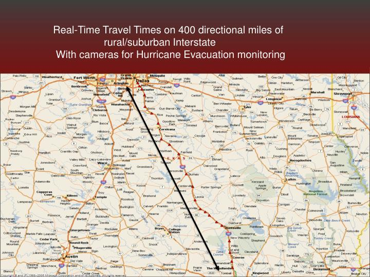Real-Time Travel Times on 400 directional miles of