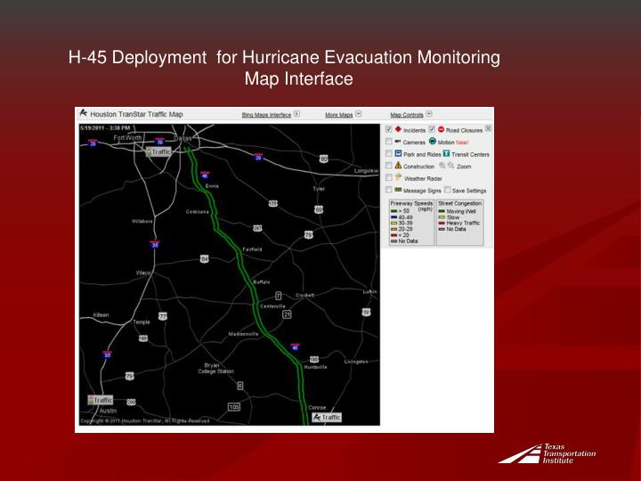 H-45 Deployment  for Hurricane Evacuation Monitoring