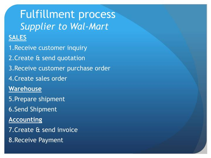 Fulfillment process