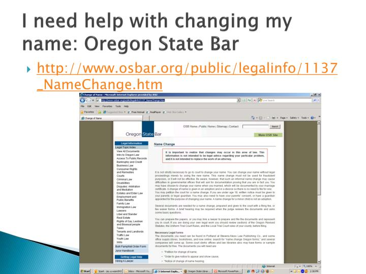 I need help with changing my name: Oregon State Bar