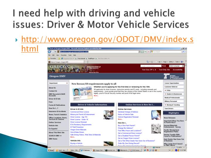 I need help with driving and vehicle issues: Driver & Motor Vehicle Services