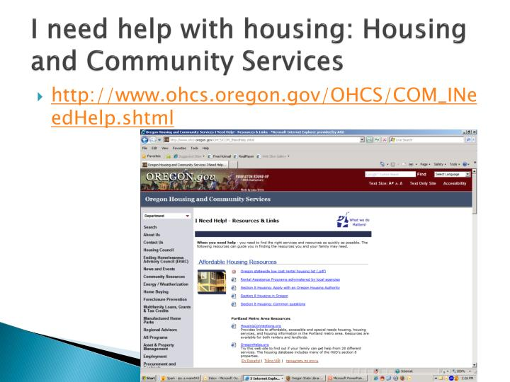 I need help with housing: Housing and Community Services