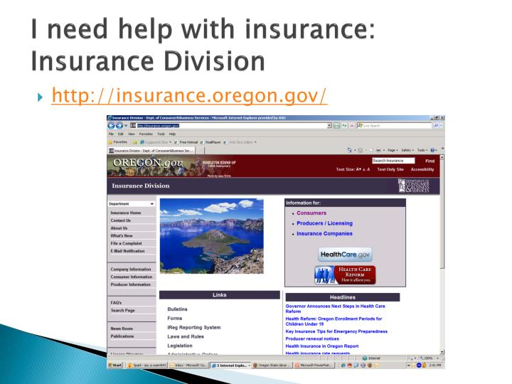 I need help with insurance: Insurance Division