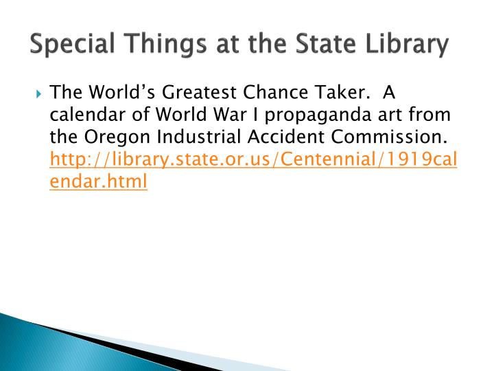 Special Things at the State Library