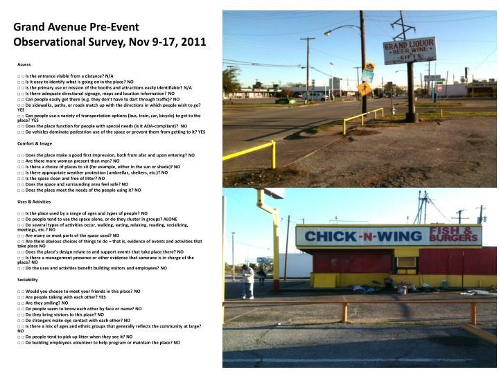 Grand Avenue Pre-Event Observational Survey, Nov 9-17, 2011