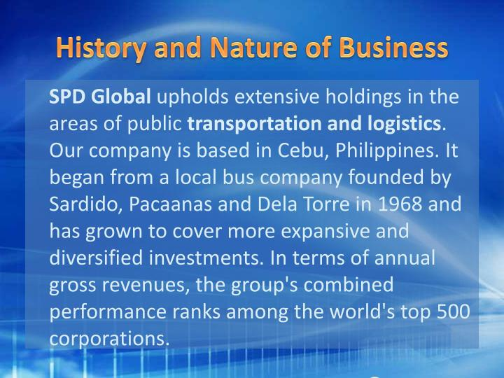 History and Nature of Business