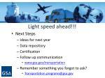 light speed ahead