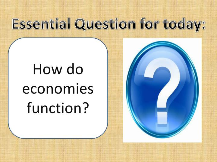 Essential Question for today: