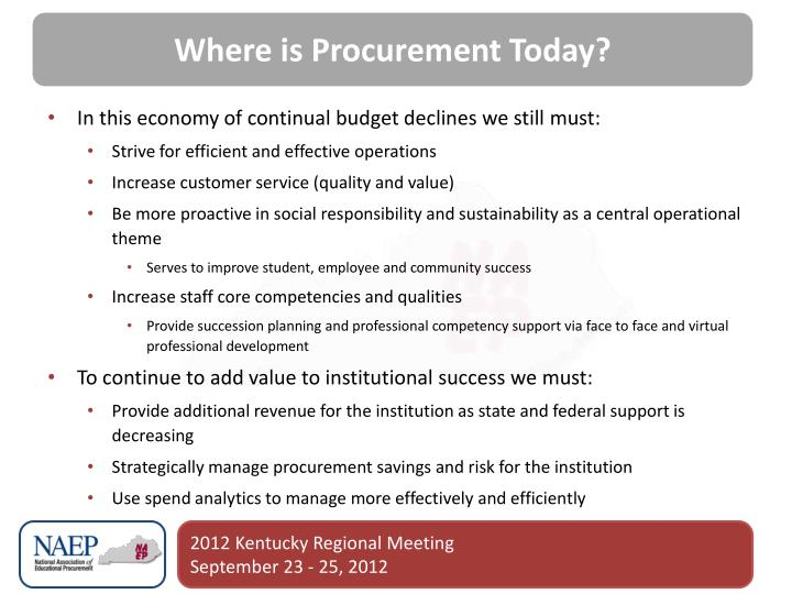 Where is Procurement Today?