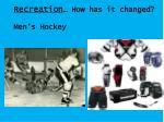 recreation how has it changed men s hockey