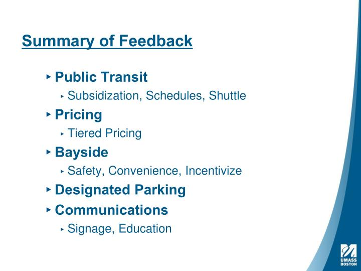 Summary of feedback