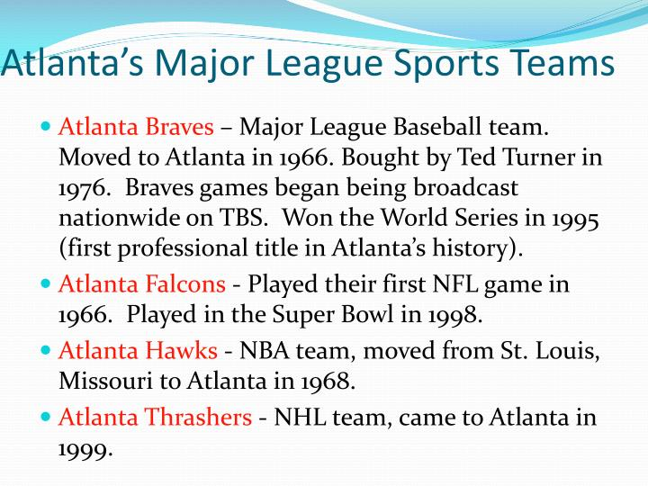Atlanta's Major League Sports Teams