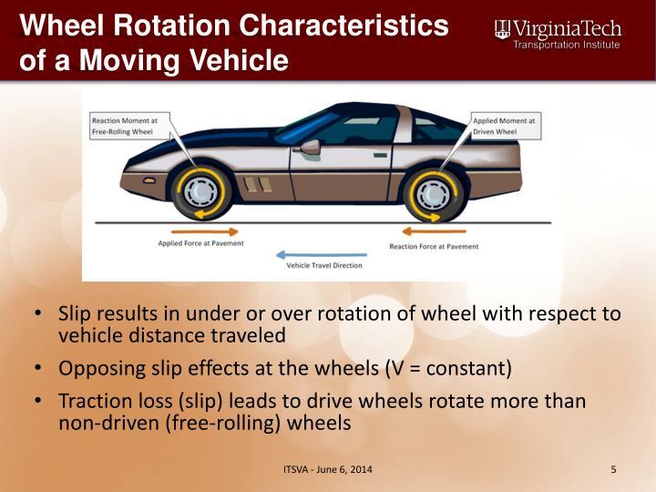 Wheel Rotation Characteristics of a Moving Vehicle