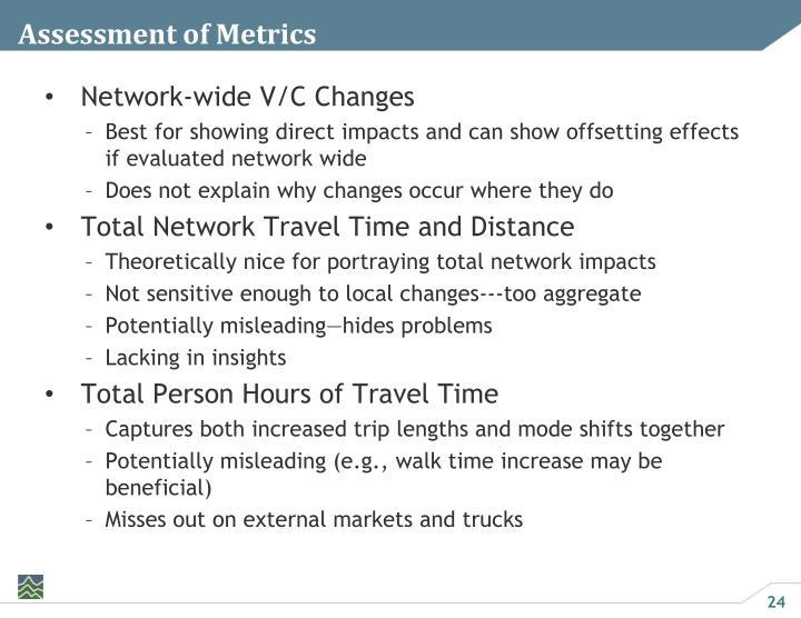 Assessment of Metrics