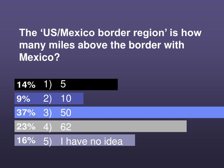 The 'US/Mexico border region' is how many miles above the border with Mexico?