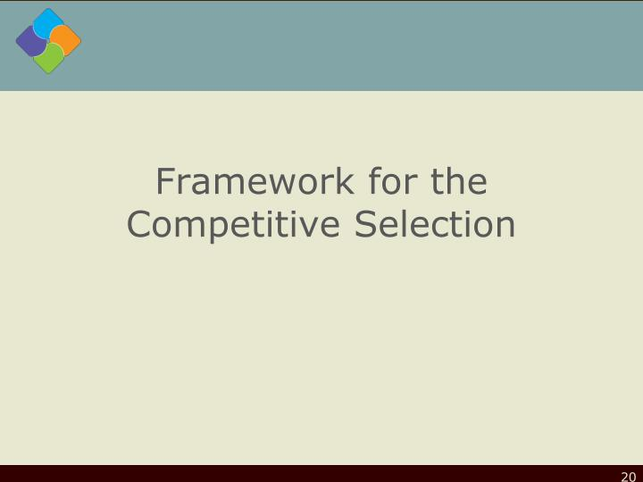 Framework for the Competitive Selection