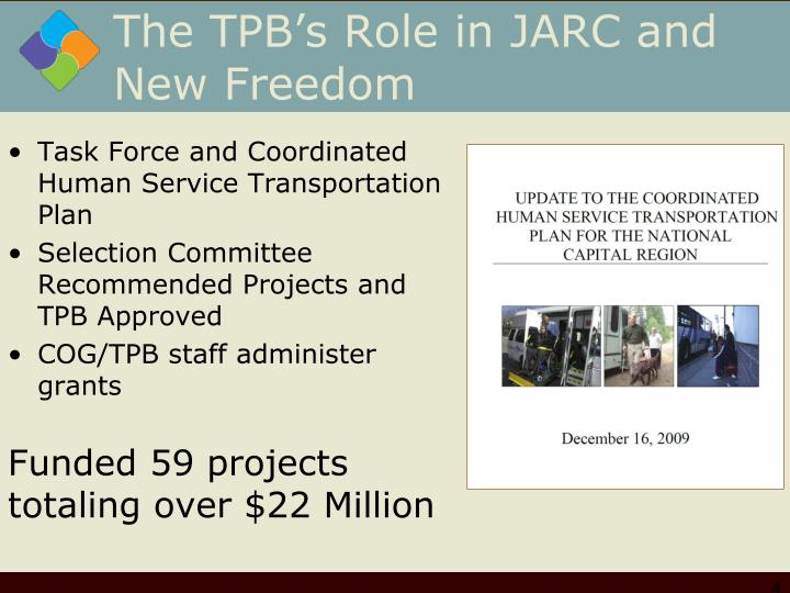 The TPB's Role in JARC and New Freedom