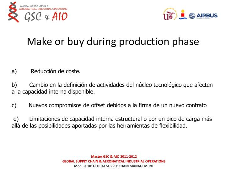 Make or buy during production phase