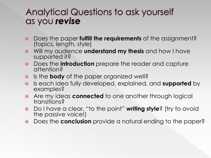 Analytical Questions to ask yourself