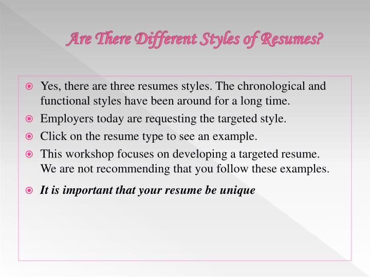 Are There Different Styles of Resumes?