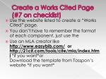 create a works cited page 7 on checklist