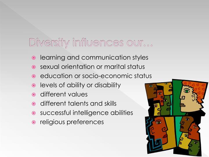 Diversity influences our…