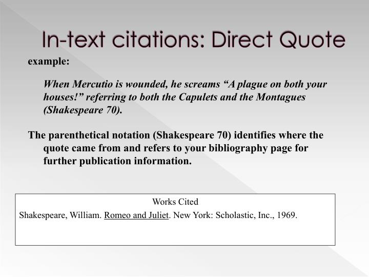 In-text citations: Direct Quote