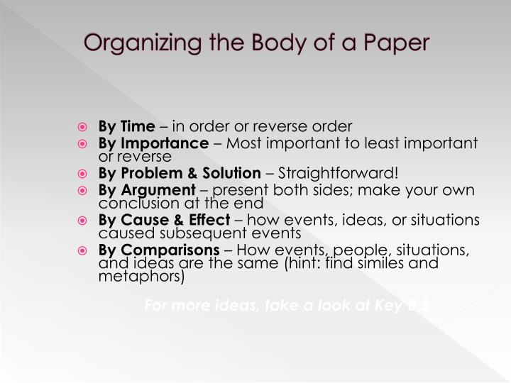 Organizing the Body of a Paper