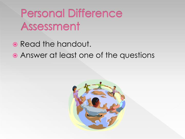 Personal Difference Assessment