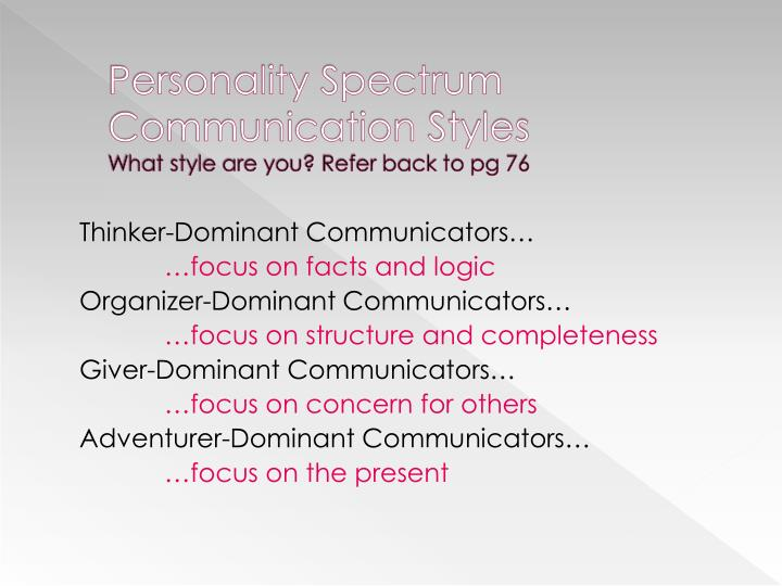 Personality Spectrum Communication