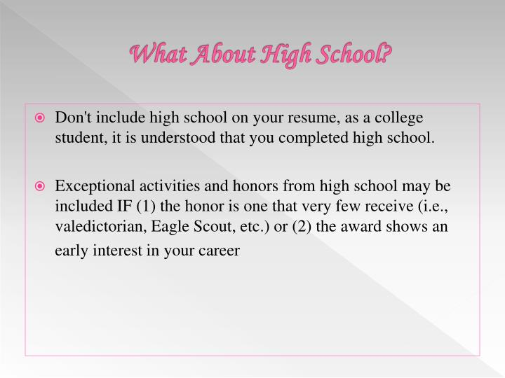 What About High School?