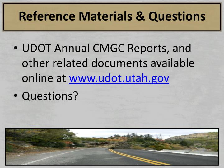 Reference Materials & Questions