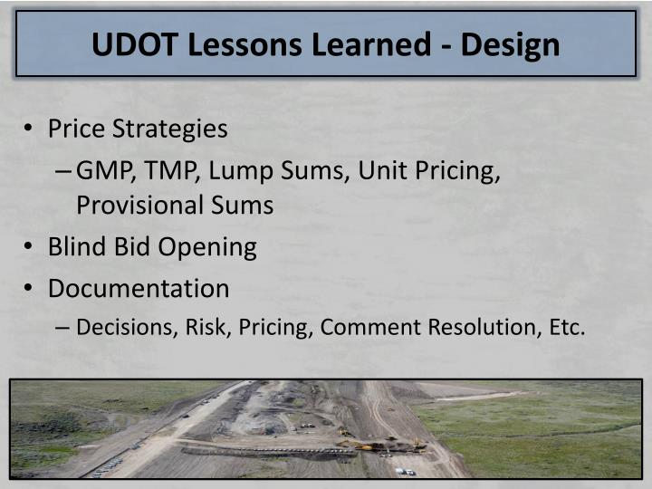 UDOT Lessons Learned - Design