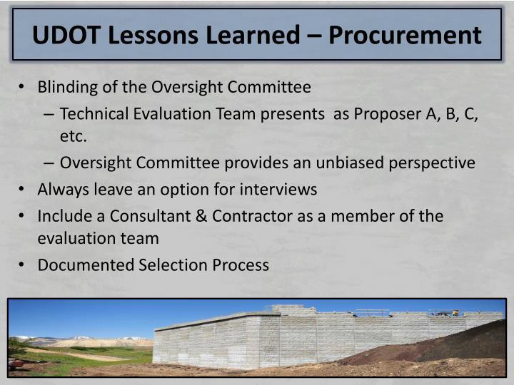 UDOT Lessons Learned – Procurement