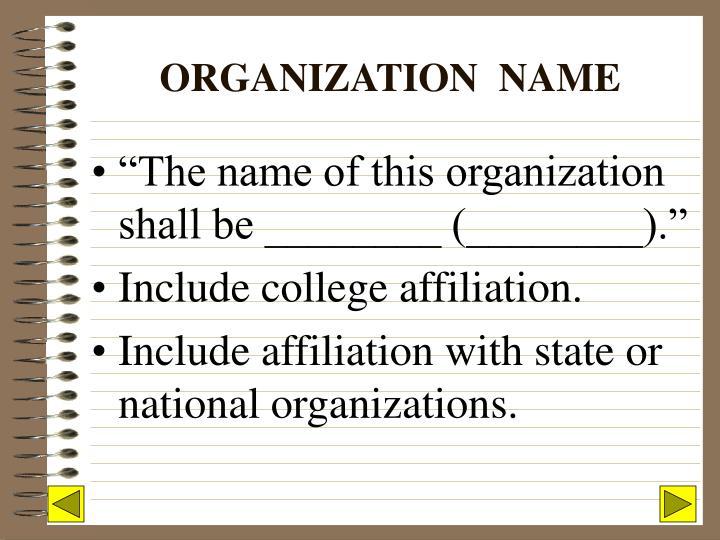 ORGANIZATION  NAME