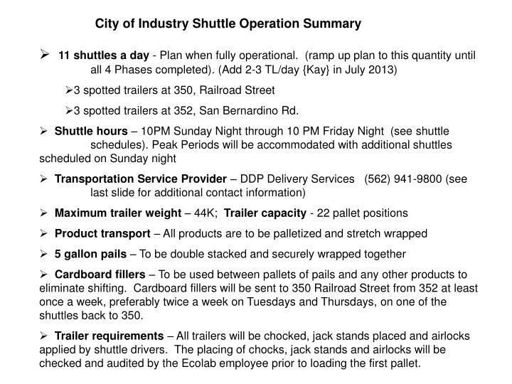 City of Industry Shuttle Operation Summary