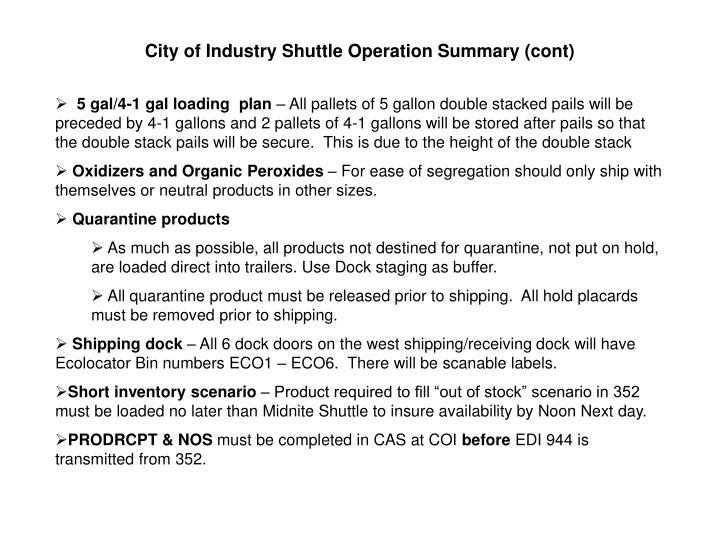City of Industry Shuttle Operation Summary (cont)