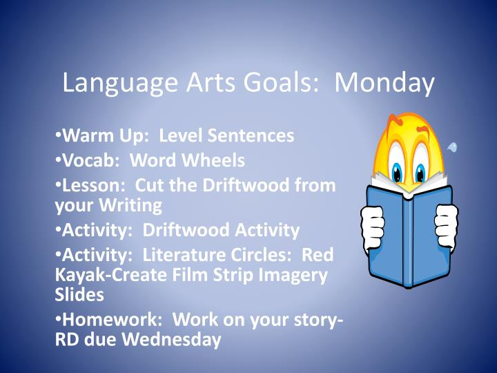 Language arts goals monday