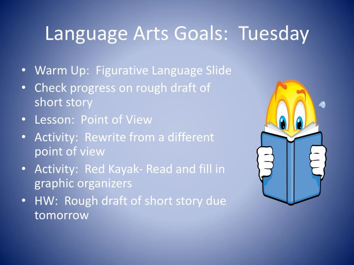 Language arts goals tuesday