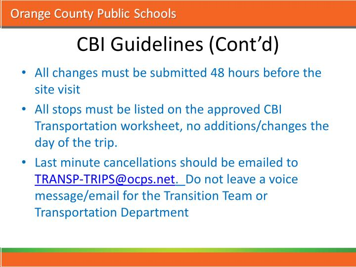 CBI Guidelines (Cont'd)